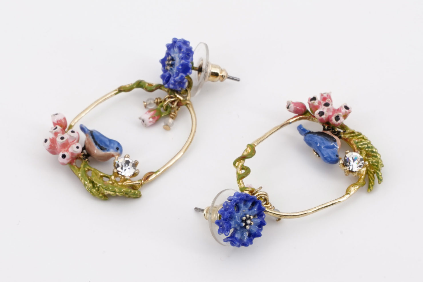 BLUE BIRDS EARRINGS DANS LA CLAIRIERE COLLECTION LES NEREIDES