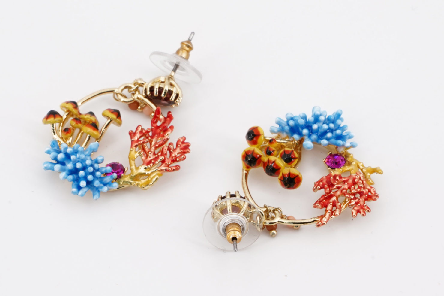 FLOWERS AND MUSHROOMS EARRINGS FLORE MYSTERIEUSE COLLECTION LES NEREIDES