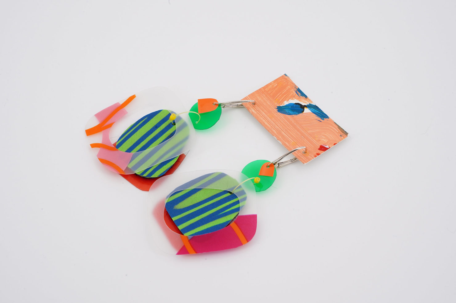HANDMADE EARRINGS WITH CUTTED RECYCLED PLASTIC-SAVE THE FOREST