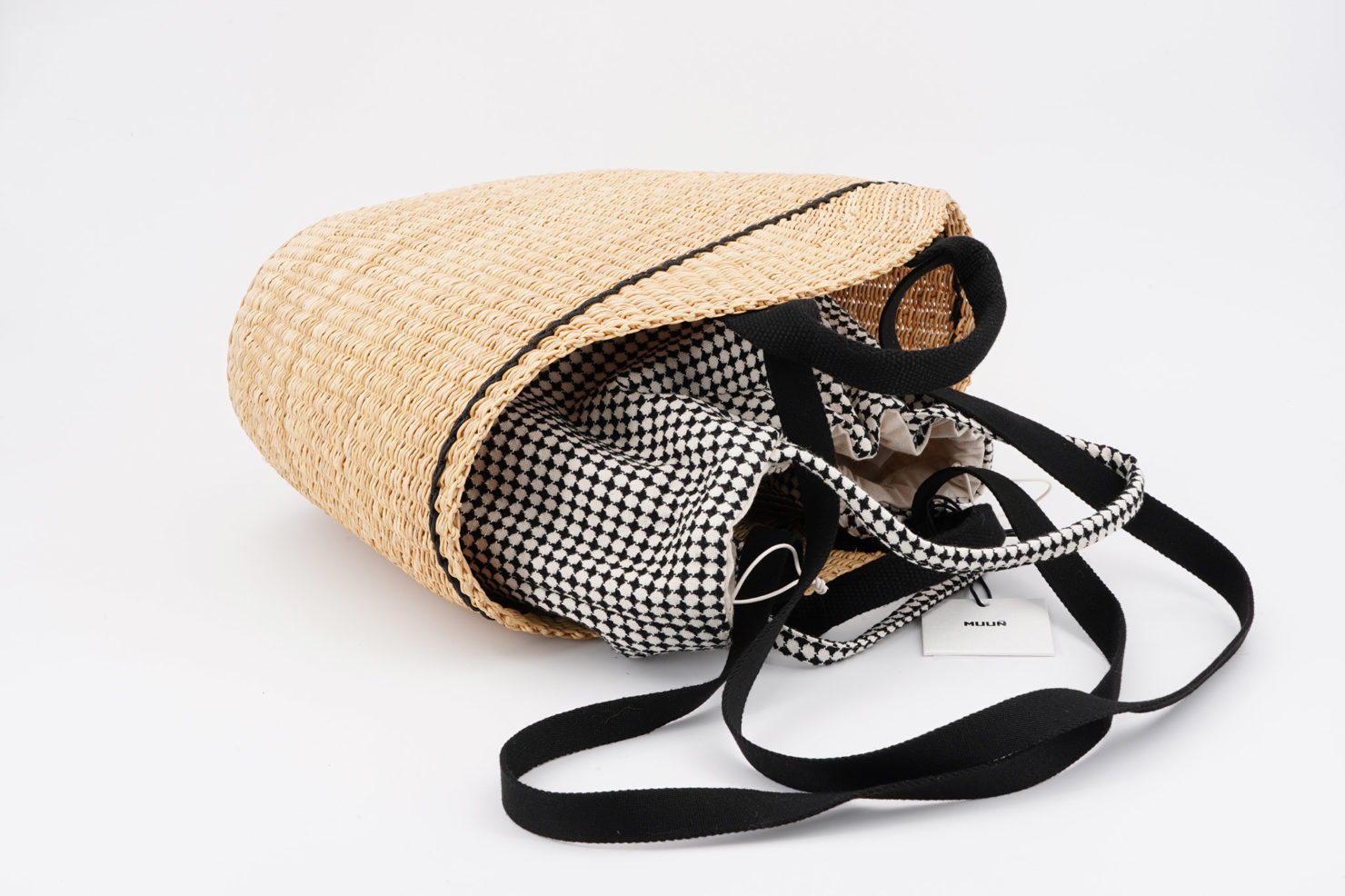 NATH DELFT STRAW BAG WITH REMOVABLE POUCH OPEN MUUN