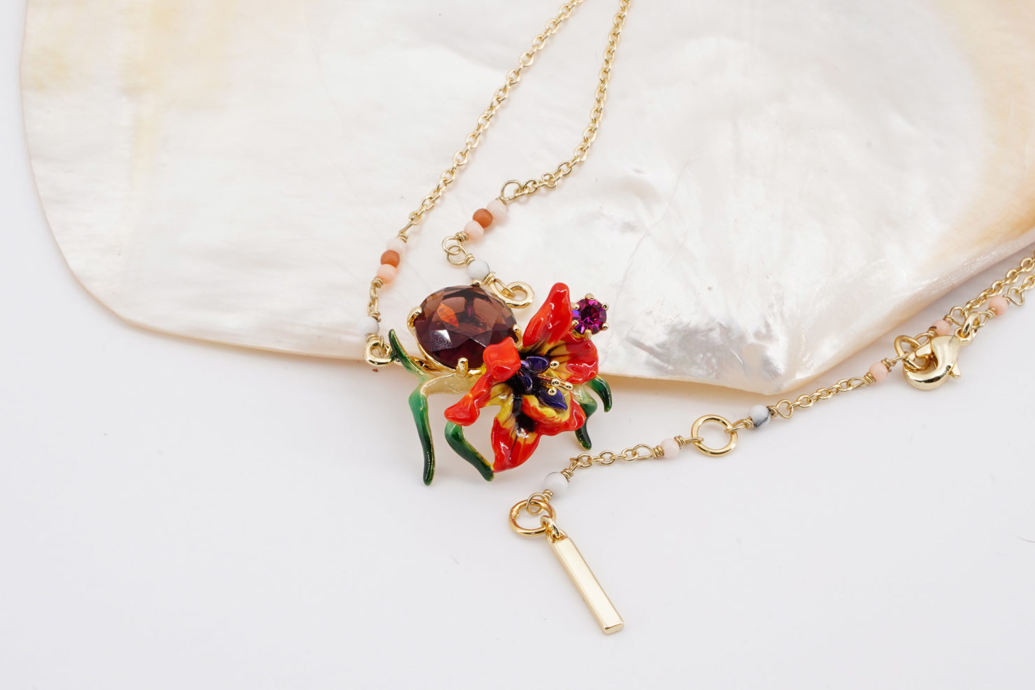ORCHID NECKLACE FLORE MYSTERIEUSE COLLECTION LES NEREIDES NECKLACE
