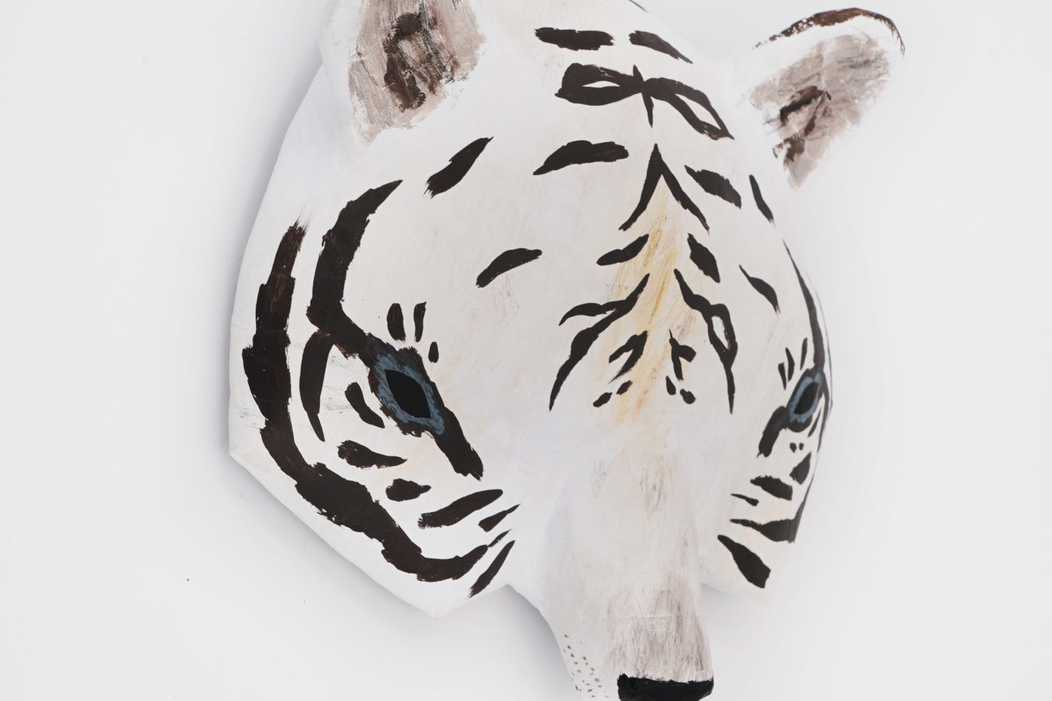 PAPER MACHE SCULPTURE-WHITE TIGER ABIGAIL BROWN