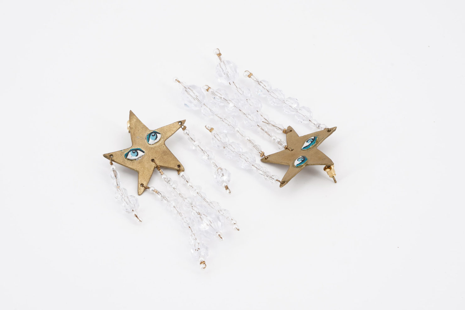 CELESTIAL EARRINGS BEADED WITH STARS GOLDPLATED - SUSAN ALEXANDRA