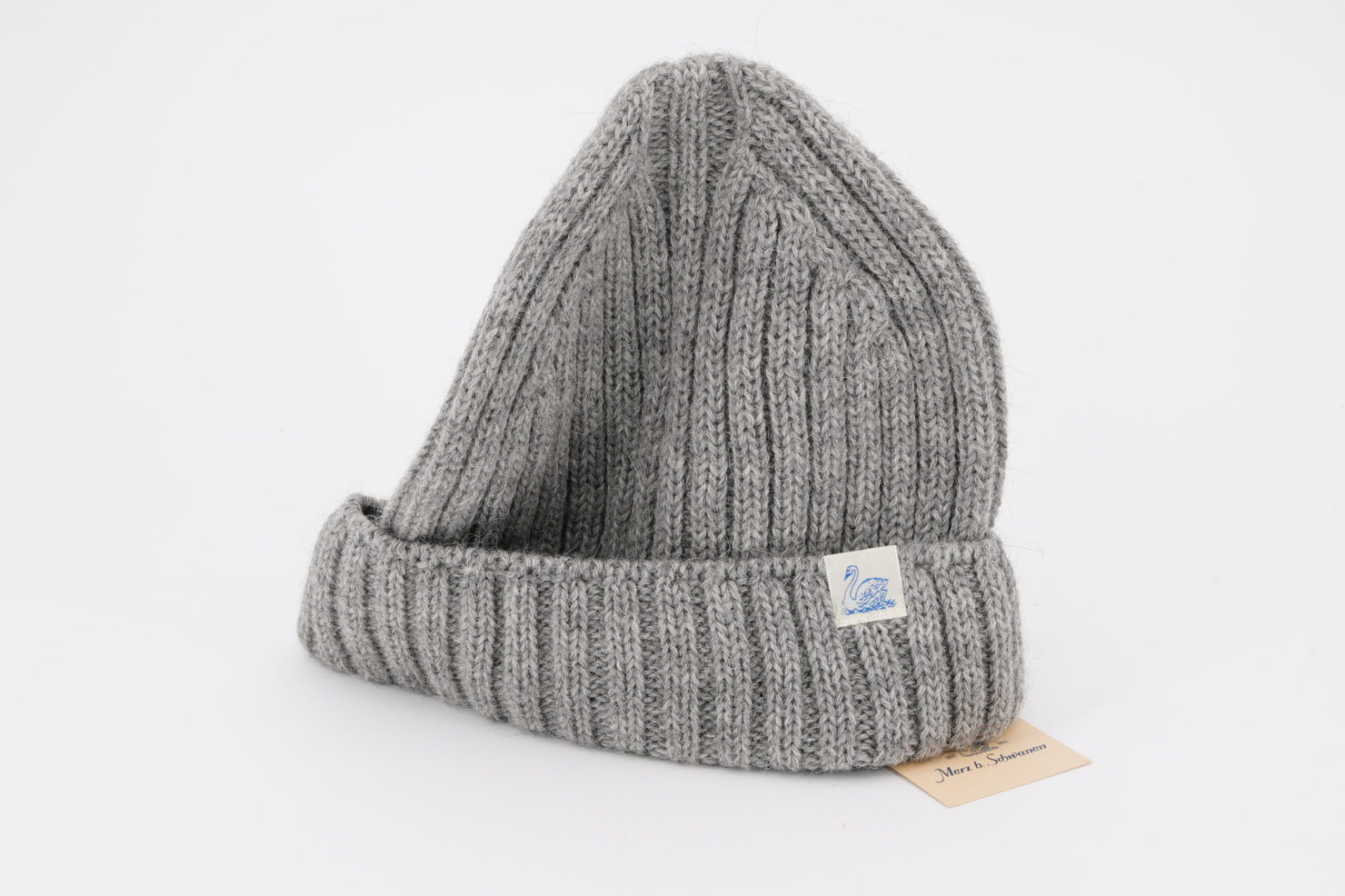 GREY WOOL AND ALPACA CAP WITH HIGH RIBBED CANEPE - MERZ B. SCHWANEN