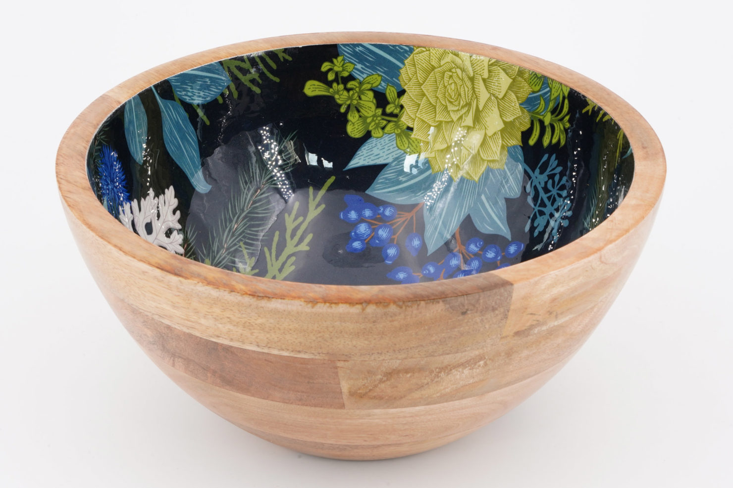 BOWL BLUE CHRISTMAS MANGO WOOD 25 CM - BY ROOM