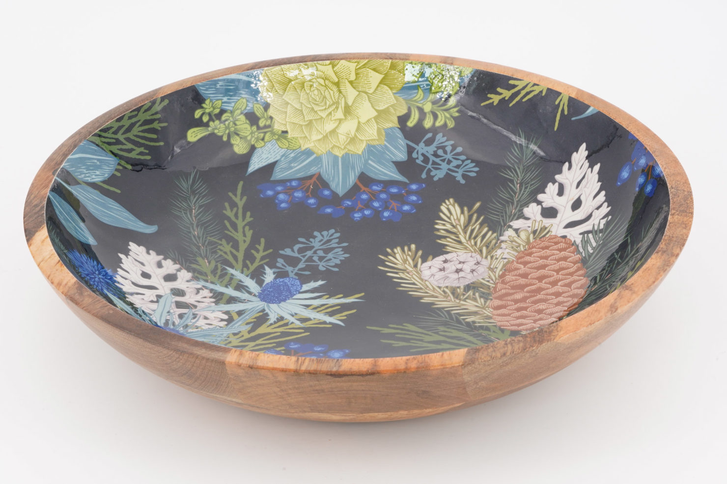 BOWL BLUE CHRISTMAS MANGO WOOD 38 CM - BY ROOM