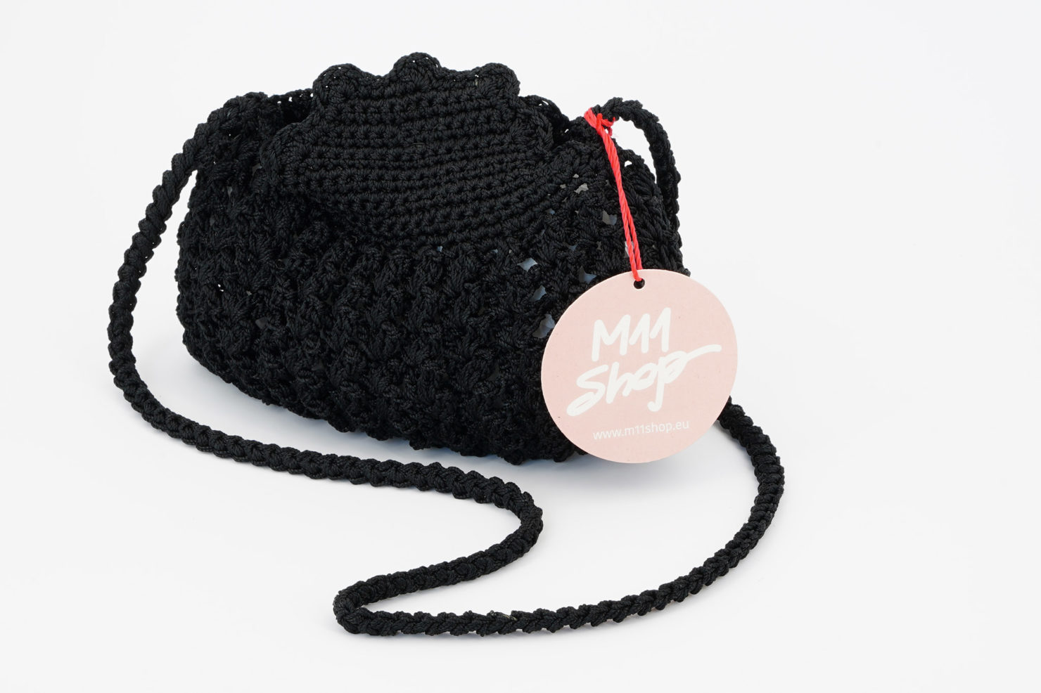 HAND MADE CROCHETED SHOULDER ROUND BAG SMALL BLACK