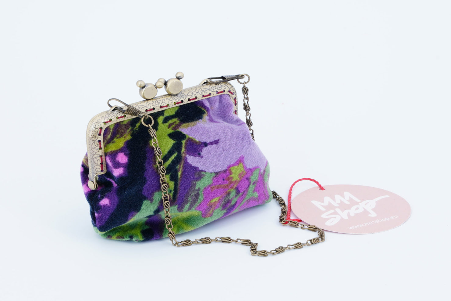 KM 0 HAND MADE PURSE IN VINTAGE FLOREAL VELVET M1 VIOLET
