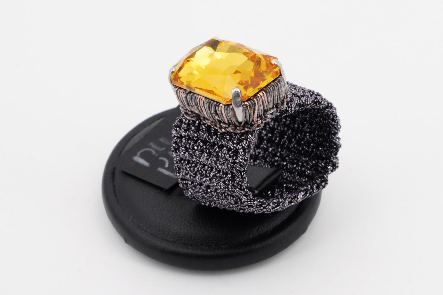 ANTHRACITE BAND + YELLOW RECTANGULAR CRISTAL RING - TMD BIJOUX