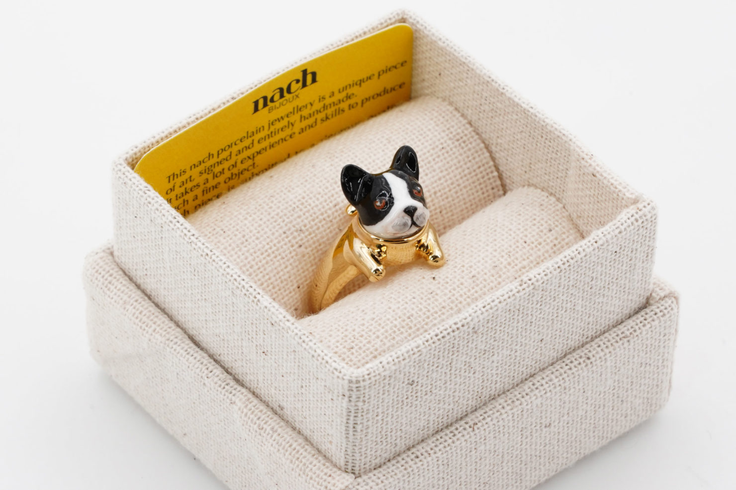 BLACK&WHITE FRENCH BULLDOG LEGS RING - NACH