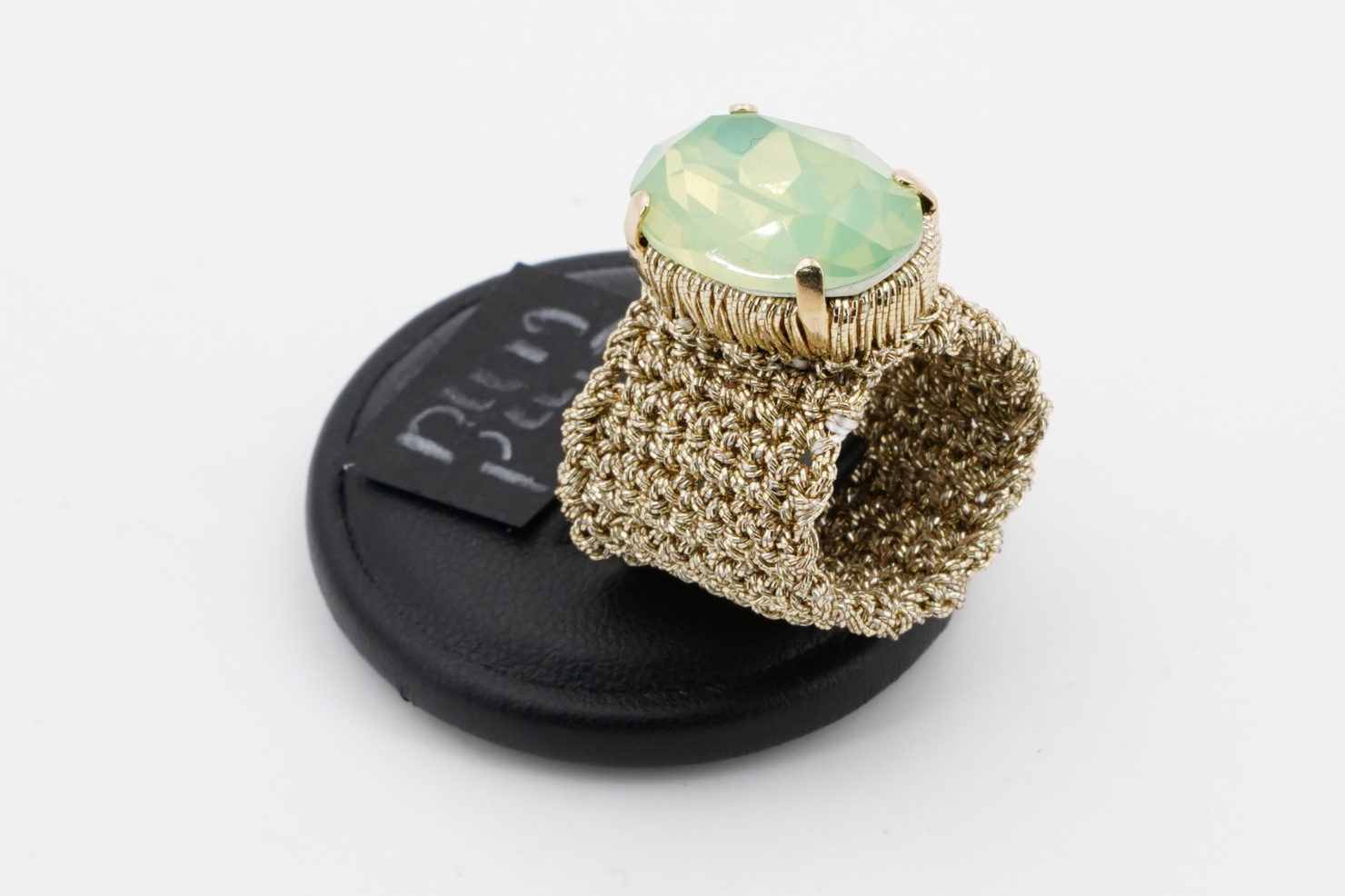 GOLD BAND + GREEN CRISTAL RING - TMD BIJOUX