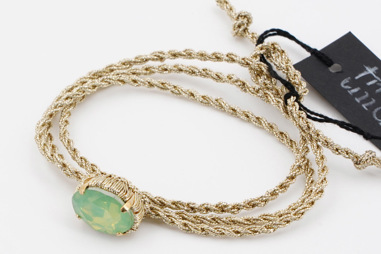 GOLD STRING + LIGHT BLUE CRISTAL BRACELET/CHOKER- TMD BIJOUX