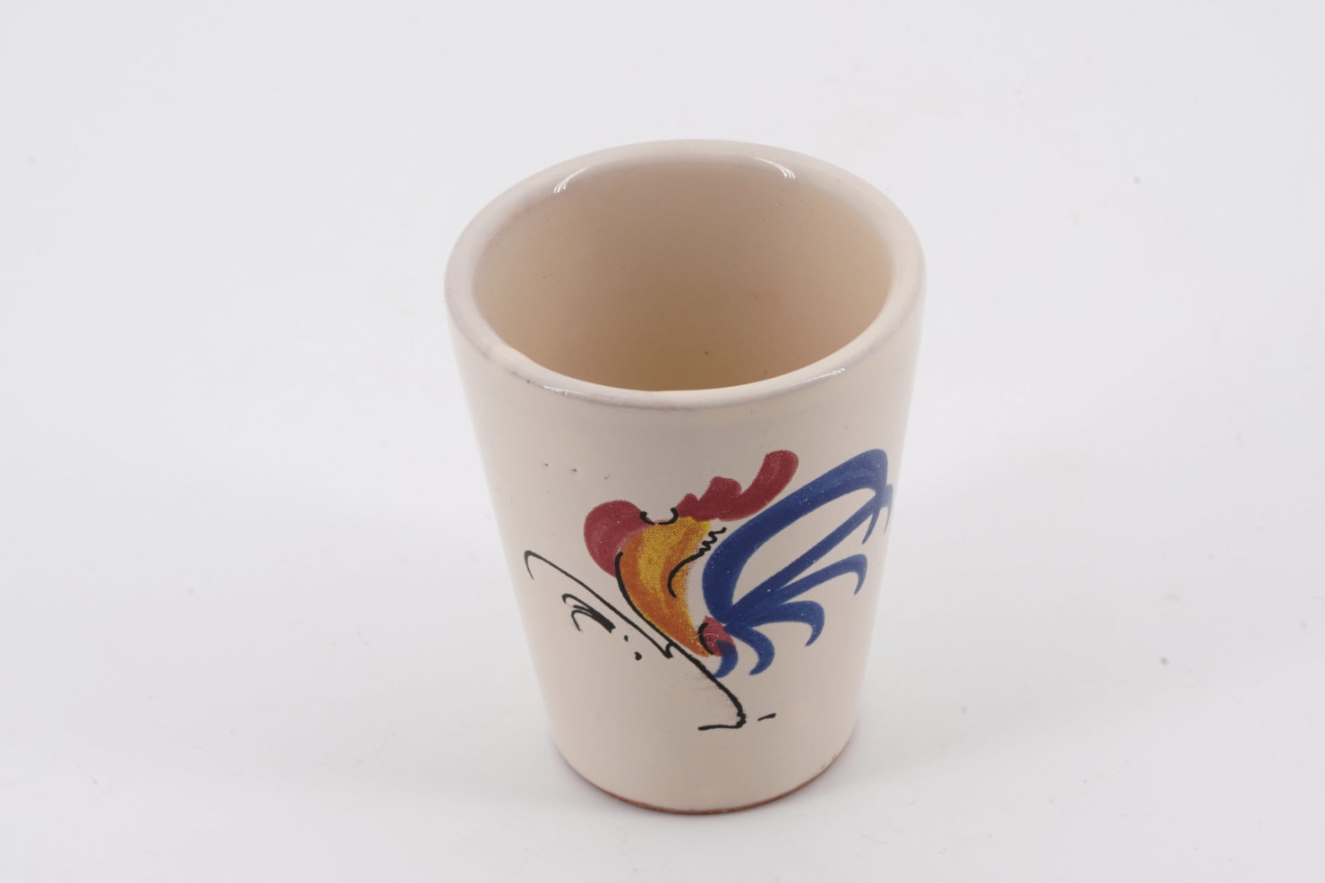 HANDPAINTED CERAMIC VARNISH SMALL GLASS WITH ROOSTER SUGGESTED FOR LIMONCELLO DRINK - FRATELLI COLI