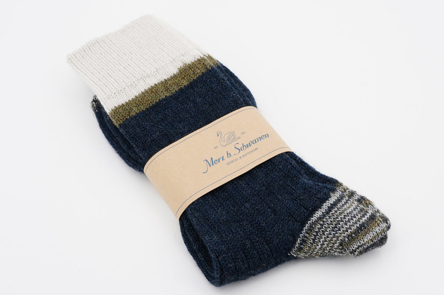RETRO SPORT SOCKS STRIPED BLUE/NATURE - MERZ B. SCHWANEN