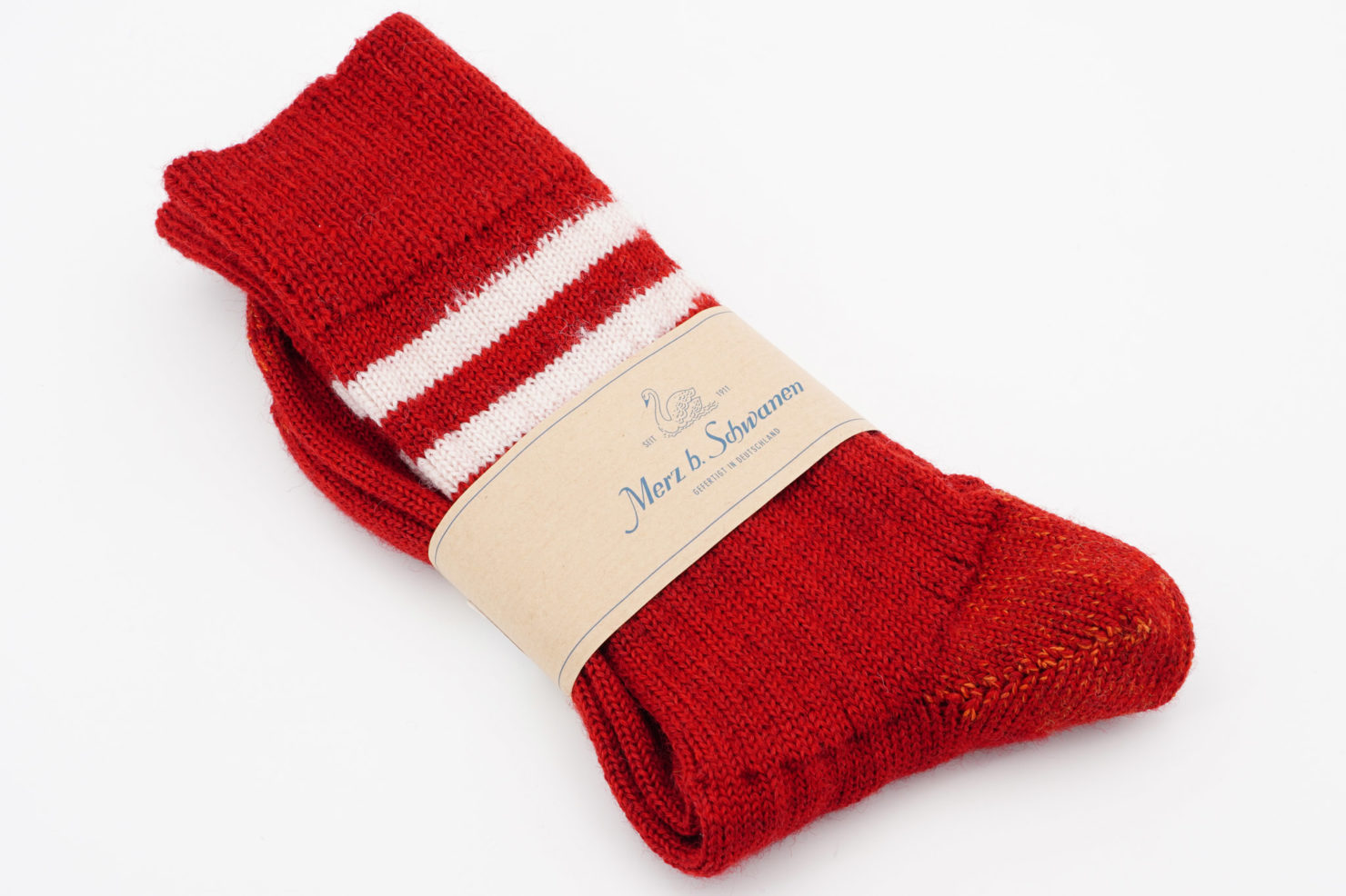 RETRO SPORT SOCKS STRIPED RED/NATURE - MERZ B. SCHWANEN
