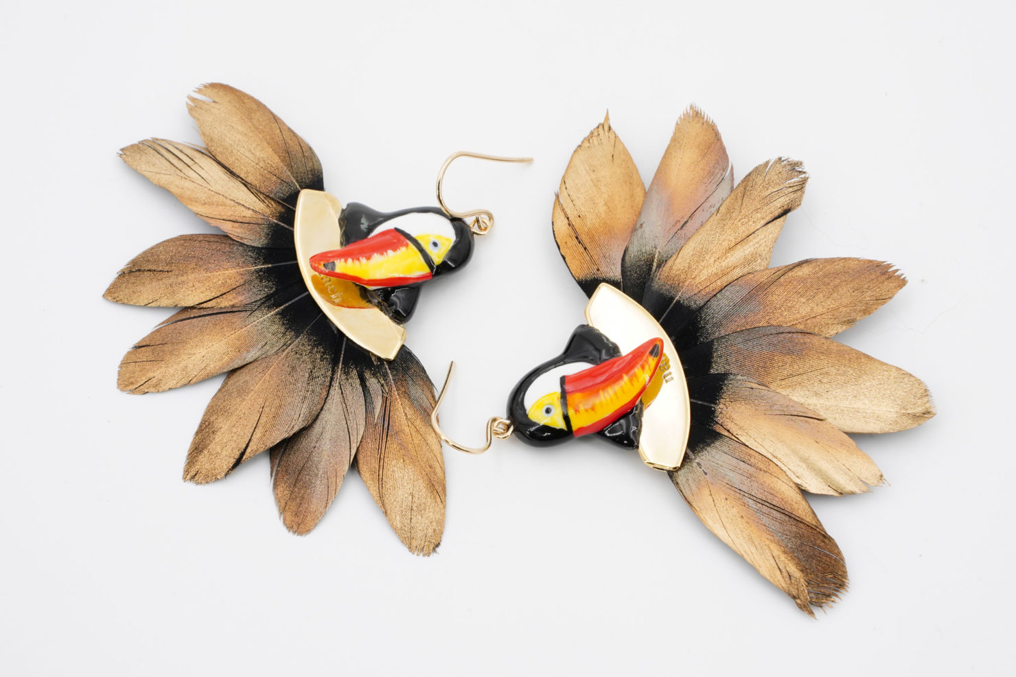 TOUCAN HEAD WITH FEATHER EARRINGS - NACH