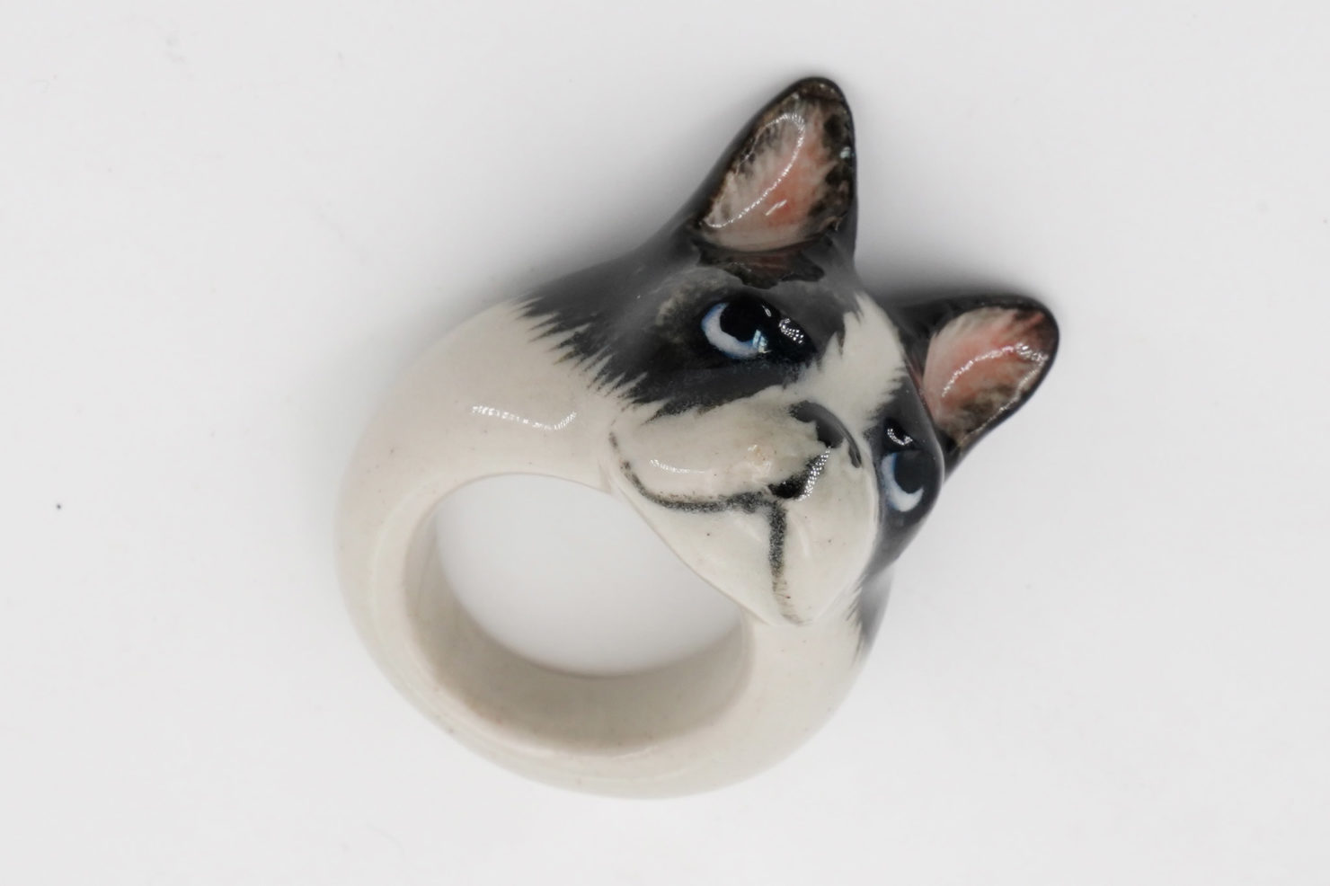 BLACK&WHITE FRENCH BULLDOG RING - NACH