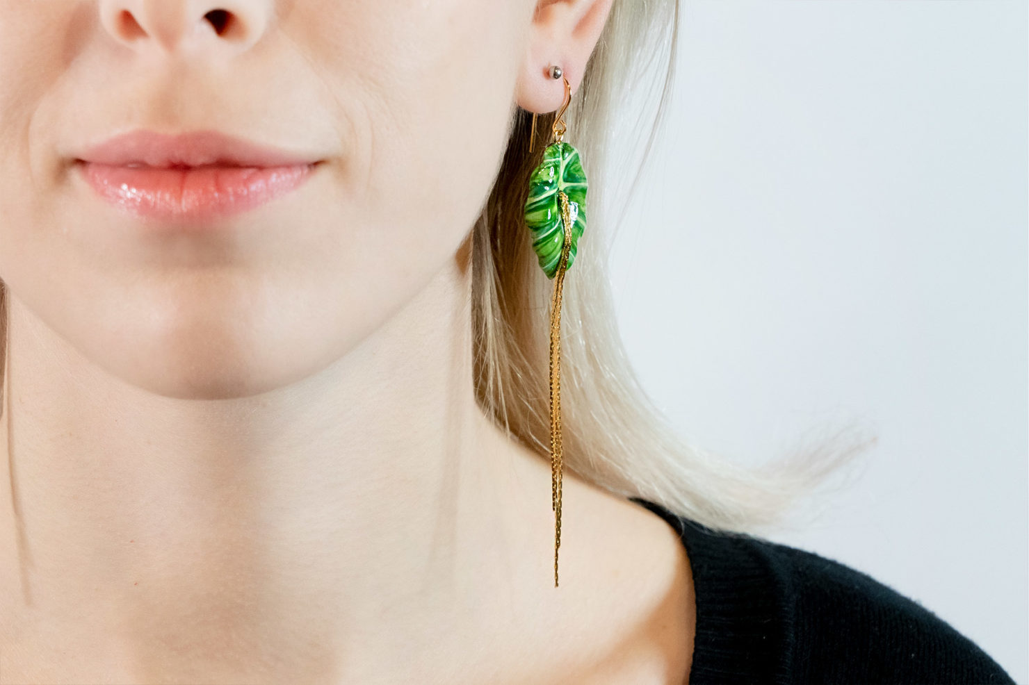 BIG GREEN LEAVE ELEPHANT EAR EARRING – NACH