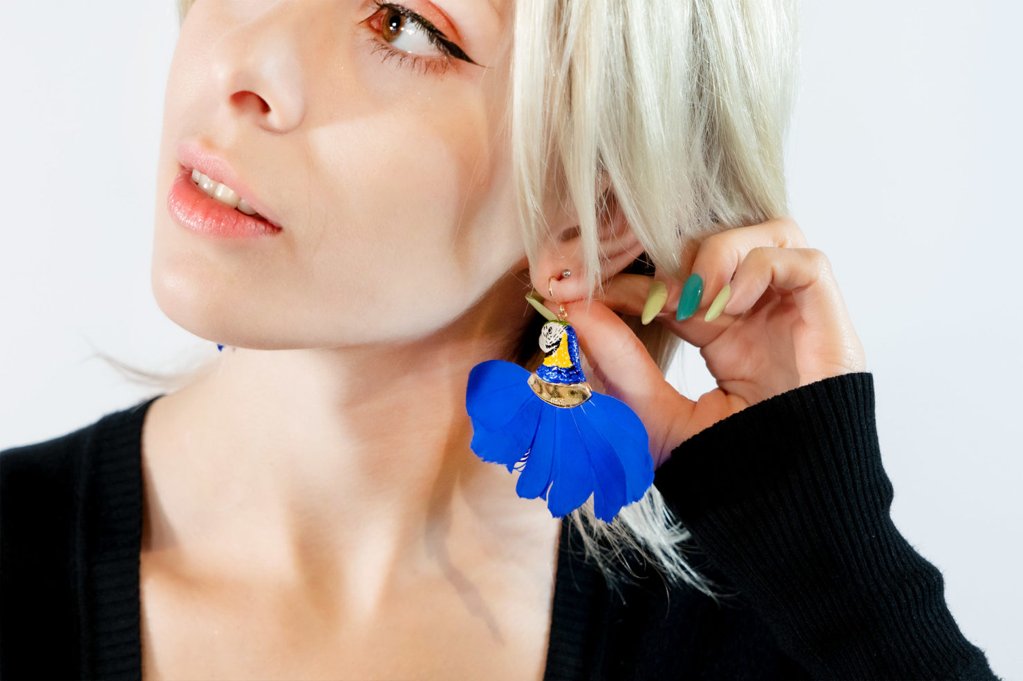 BLUE PARROT HEAD WITH FEATHER EARRINGS – NACH