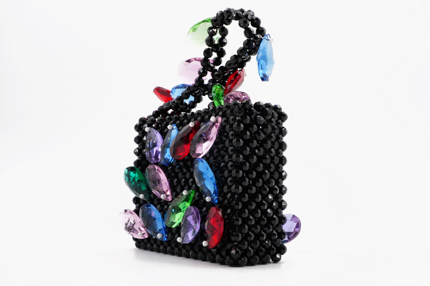 EARTHA BAG - FACETED BEAD BAG WITH CRYSTALS/MULTI - SUSAN ALEXANDRA