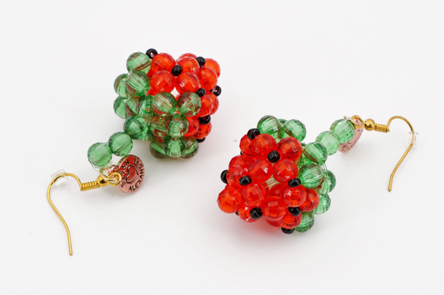 FRAGOLA EARRINGS - BEADED STRAWBERRY EARRINGS - SUSAN ALEXANDRA