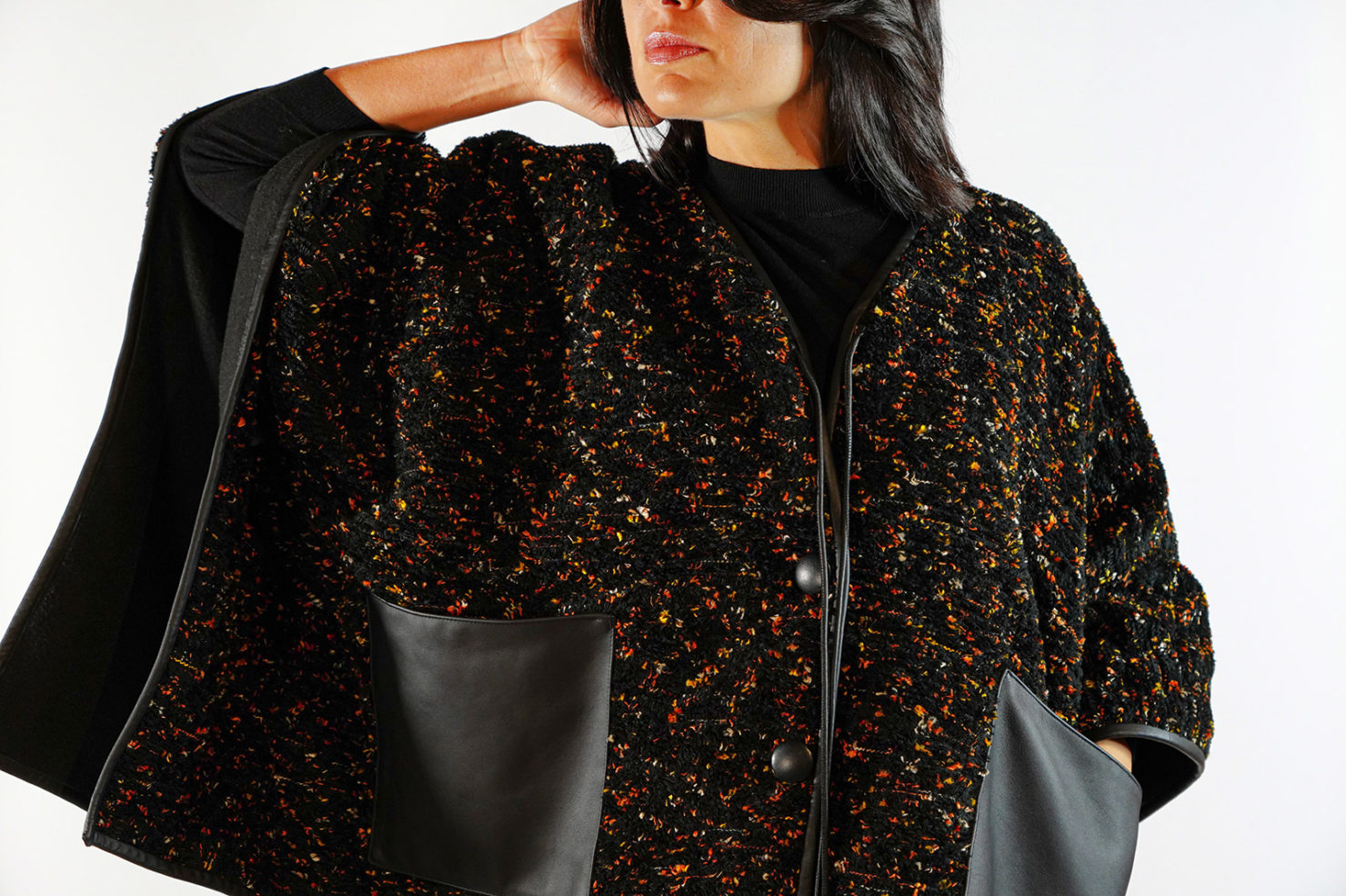 TWEED OVERSIZED PONCHO WITH LEATHER VANDA CATUCCI