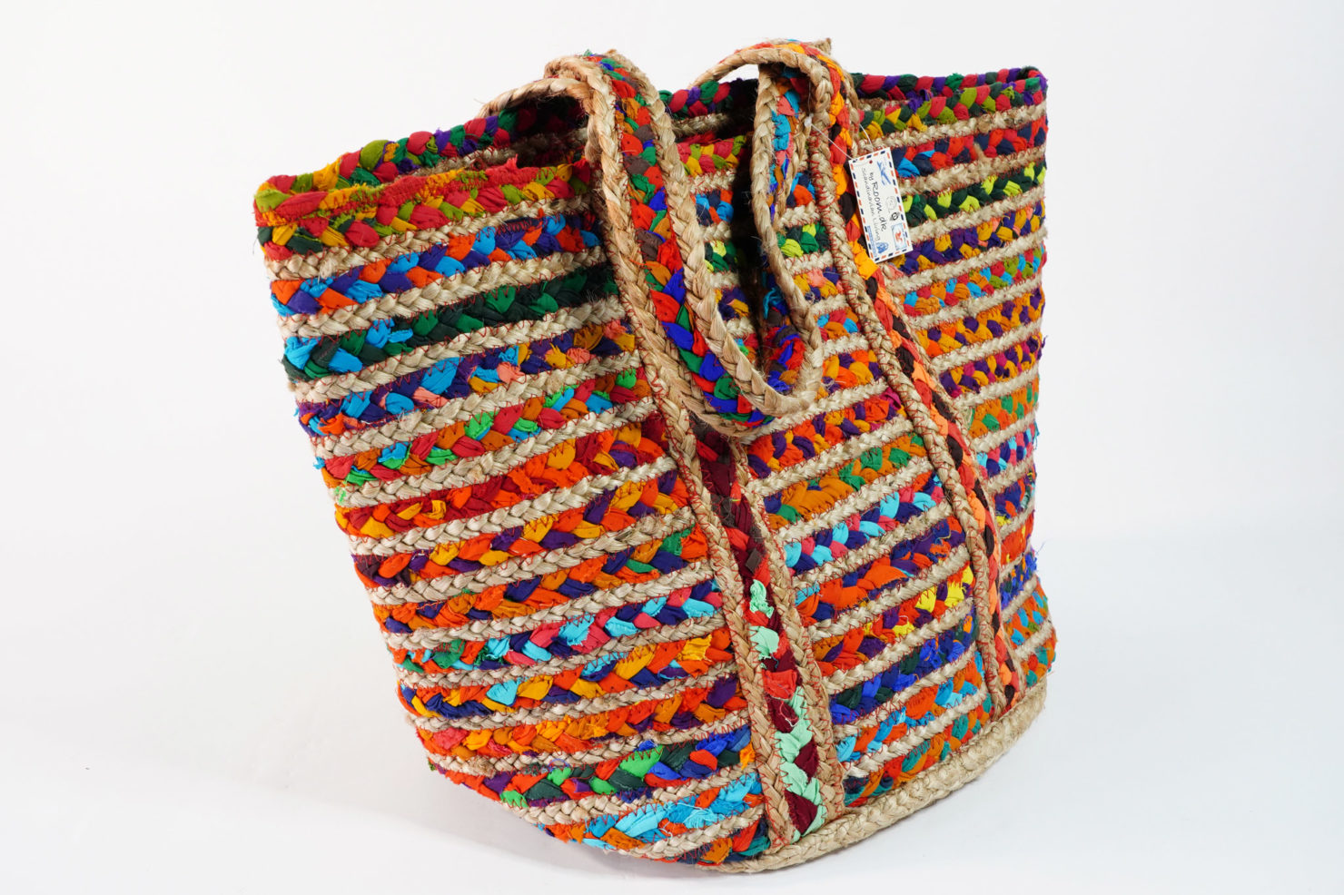 BAG JUTE MULTICOLOR ROUND JUTE AND RECYCLED COTTON 48X28 CM- BY ROOM