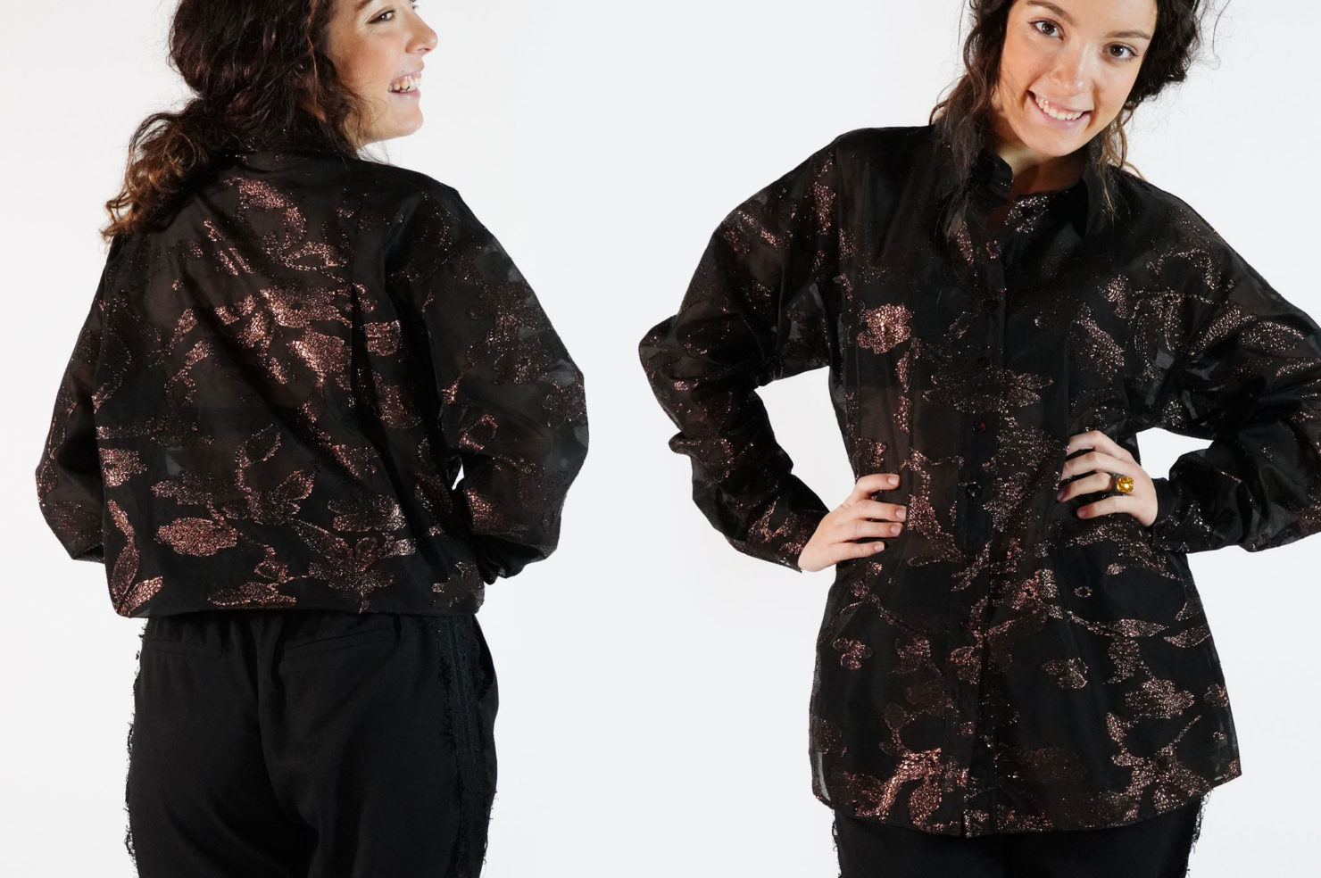 LONG SLEEVES BOXI SHIRT BLACK-BRONZE LUREX - VANDA CATUCCI