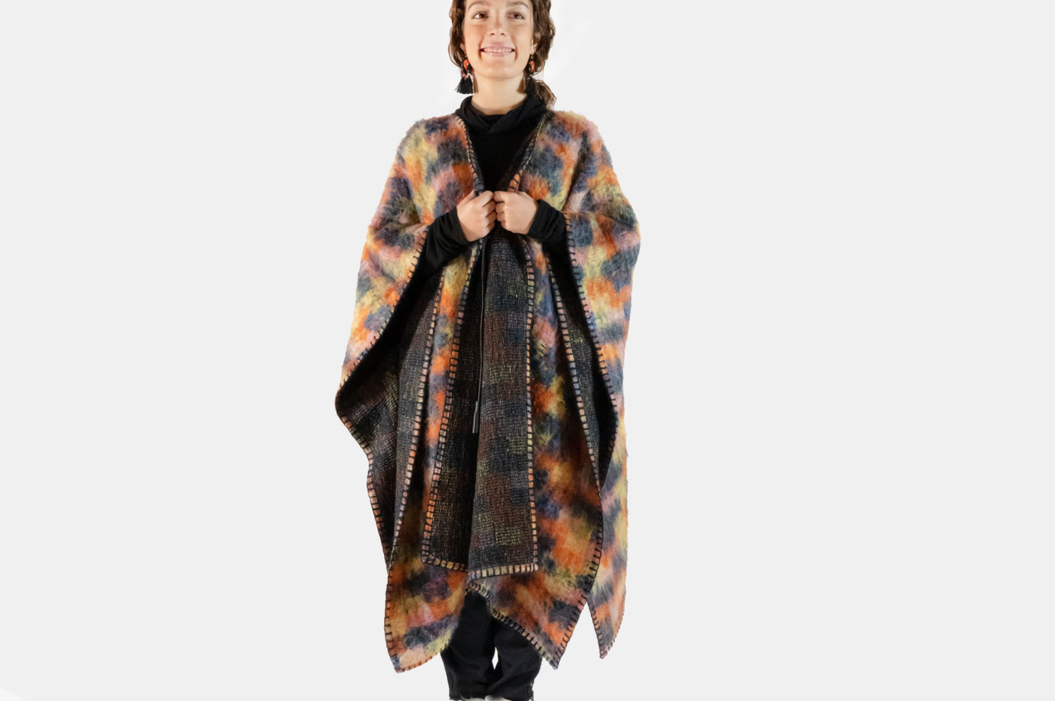 SCOTTISH PLAID MAXI PONCHO WITH EMBR - VANDA CATUCCI FOR M11