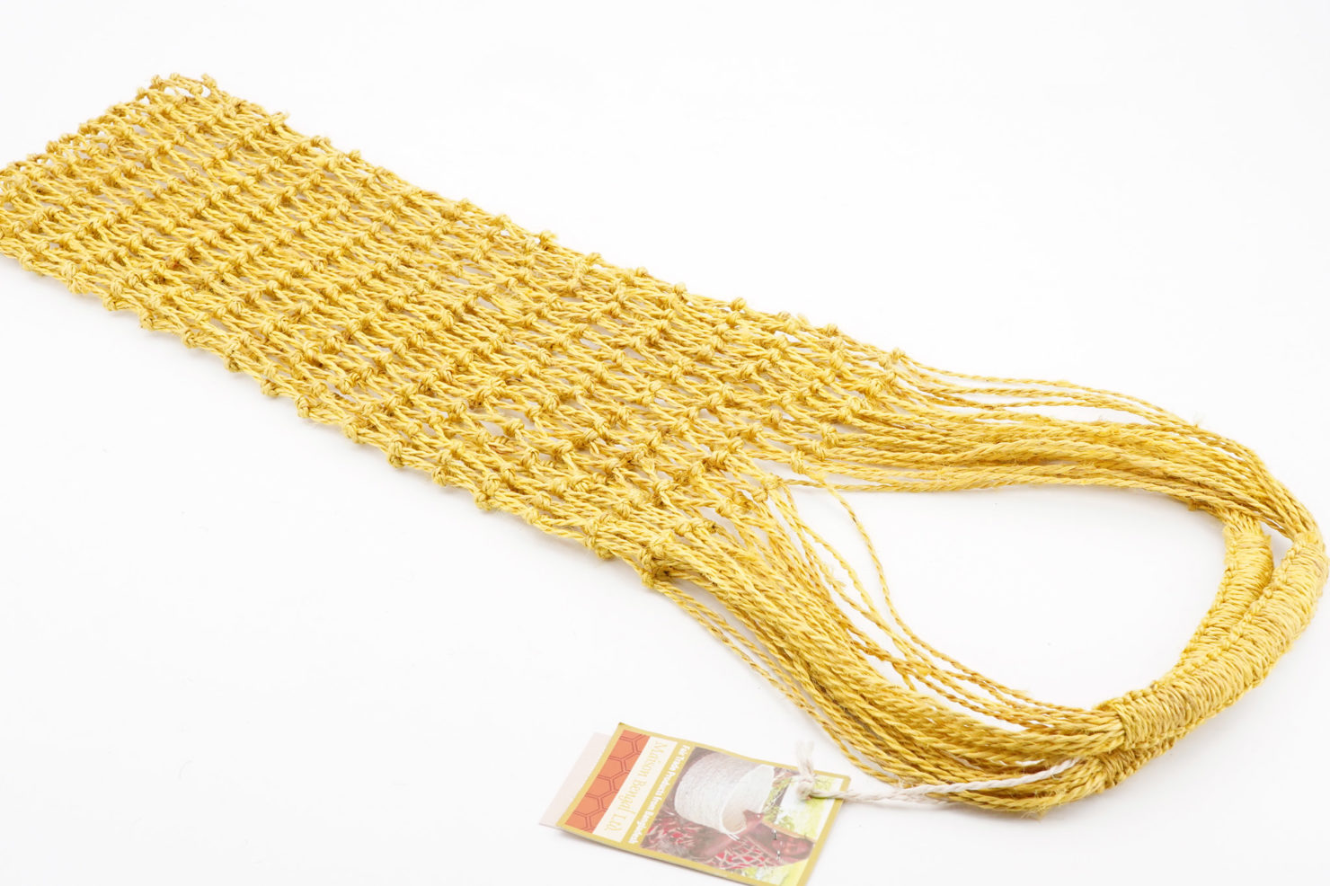 MACRAME STRING BAG YELLOW - MAISON BENGAL