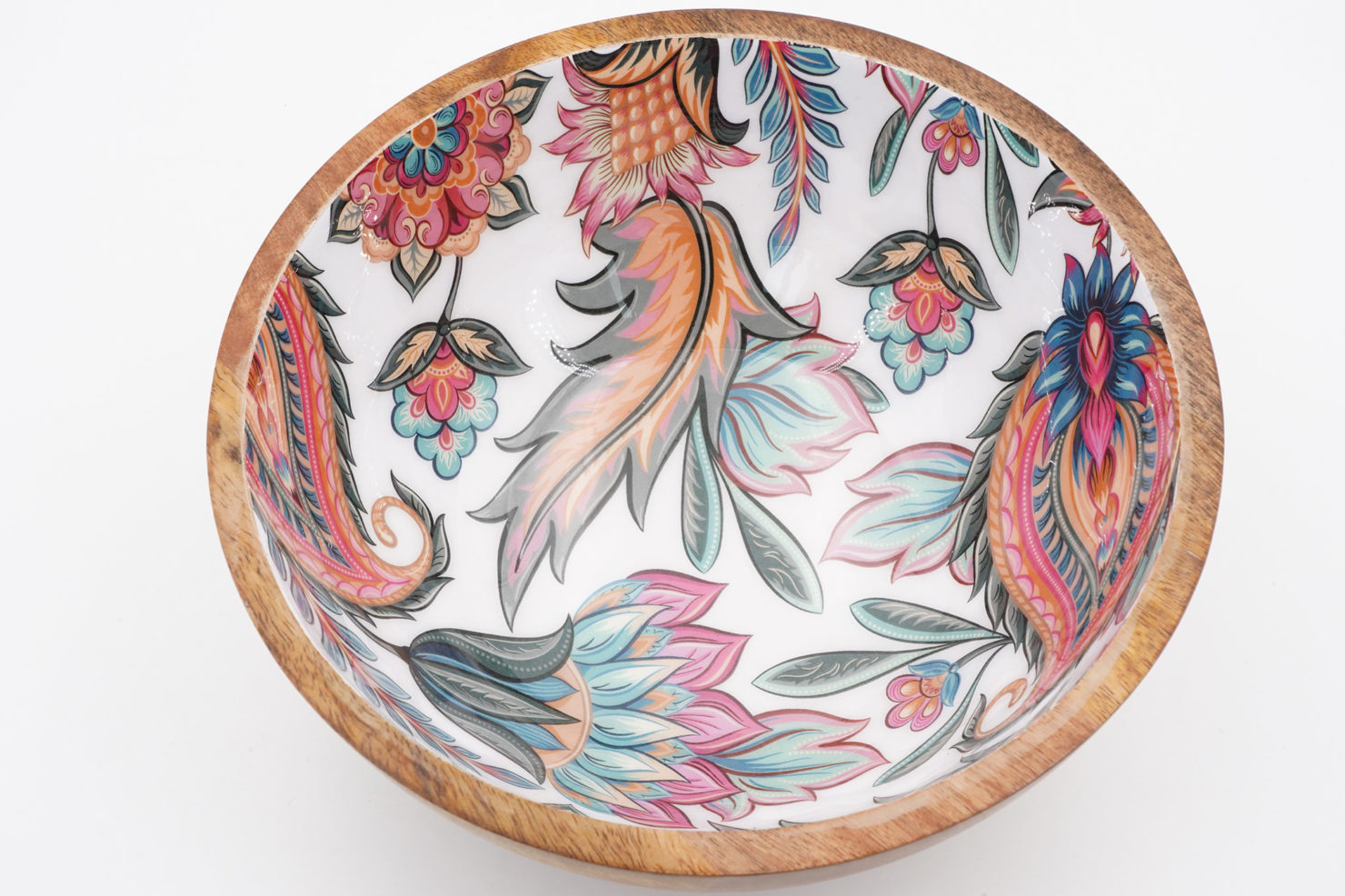 BOWL PAISLEY PALE MANGO WOOD 25 CM - BY ROOM