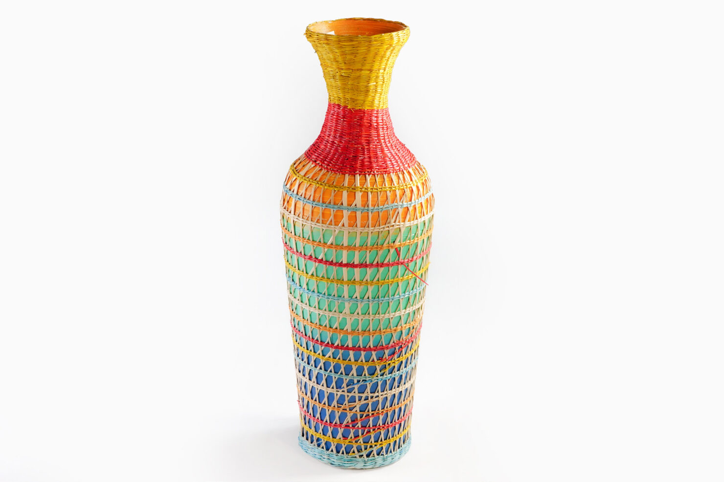 COLORED BRAID VASE 32 - BAZAR DE LUXE