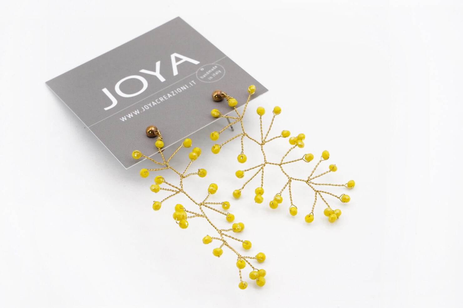 EARRINGS CRYSTAL BRANCH YELLOW - JOYA