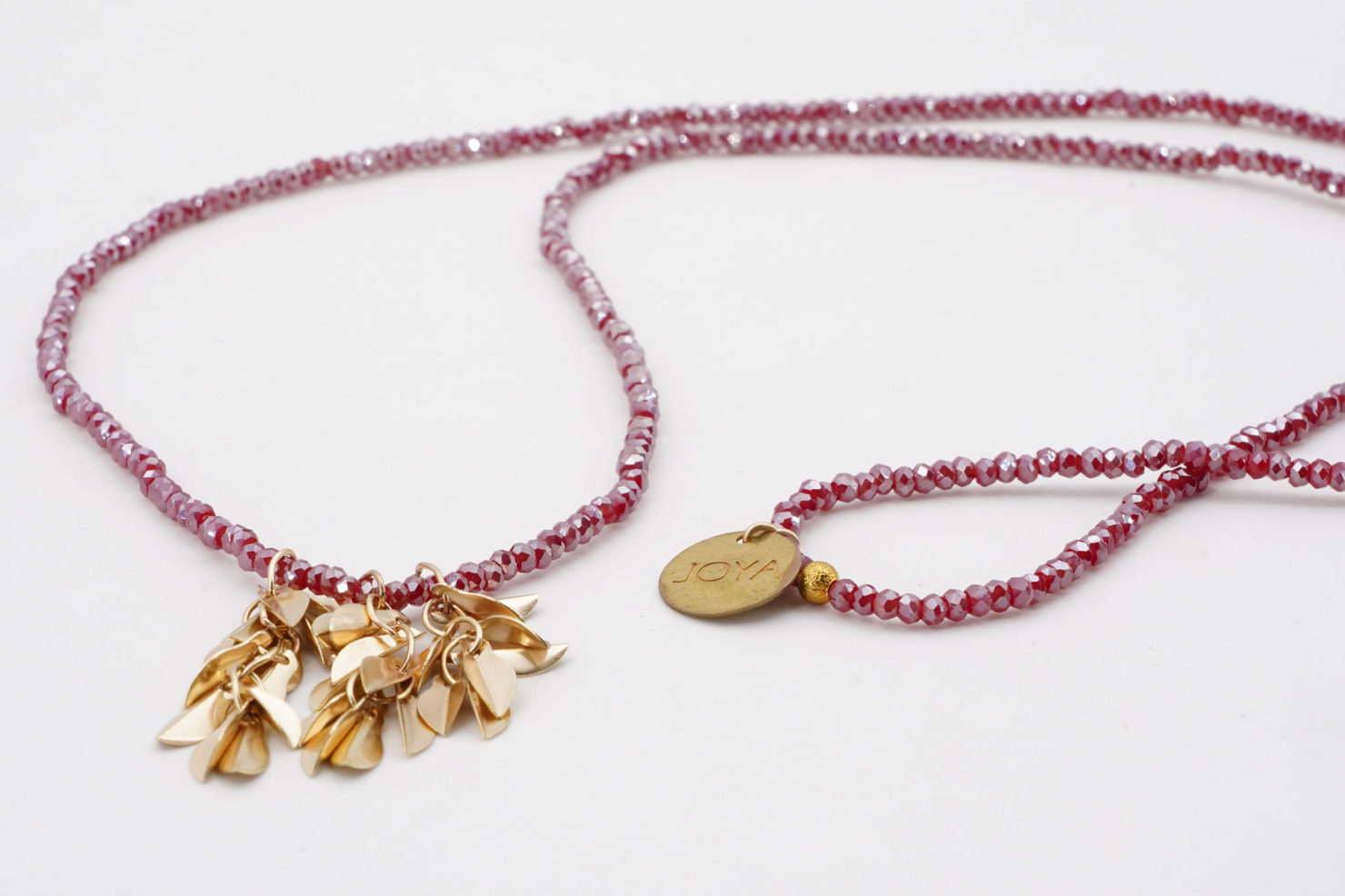 NECKLACE WITH LEAVES RED - JOYA