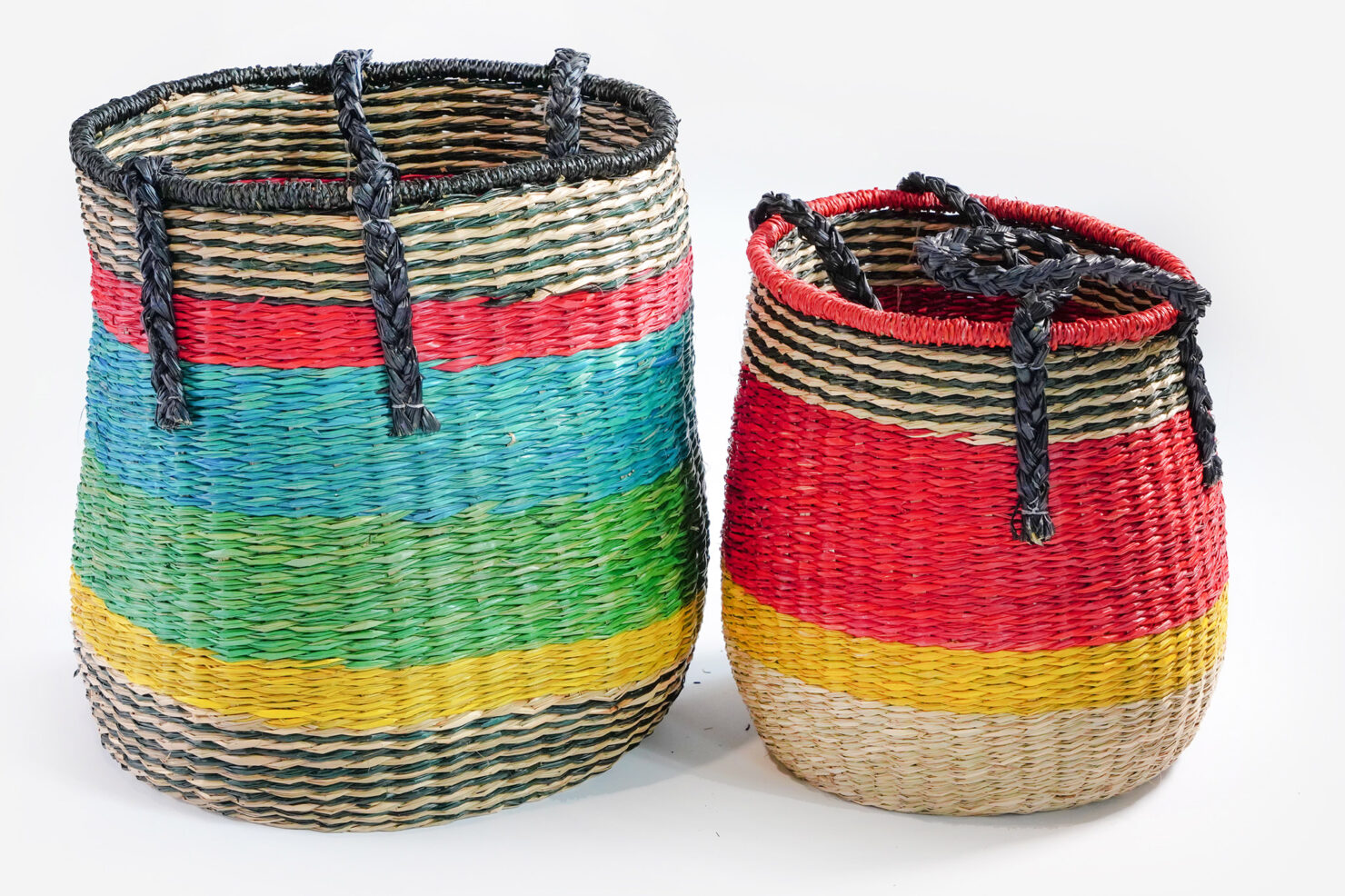 SET 2 MULTICOLOR WICKER BASKETS - BAZAR DE LUXE