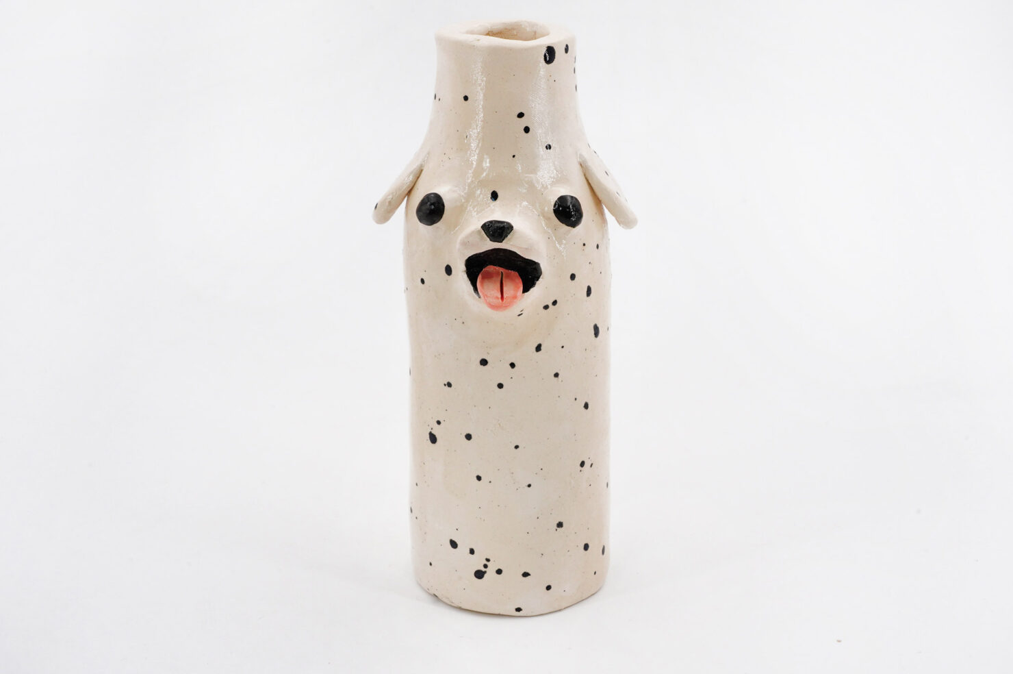 BLACK SPOTTED DOG VASE - KATIE KIMMEL