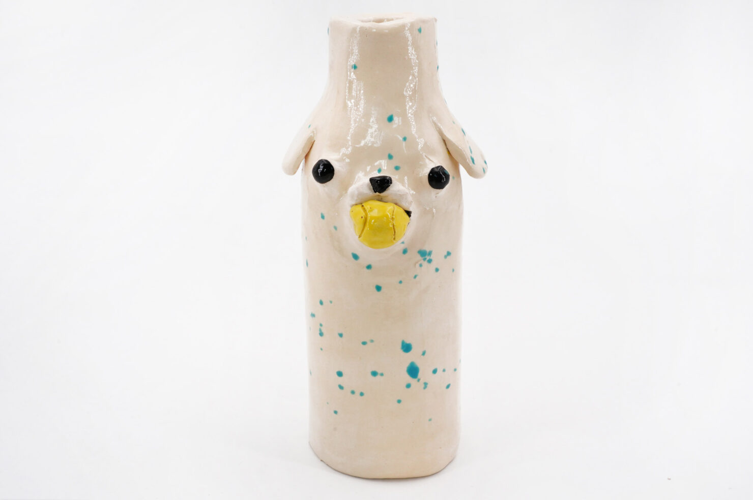 BLUE SPOTTED + BALL DOG VASE - KATIE KIMMEL