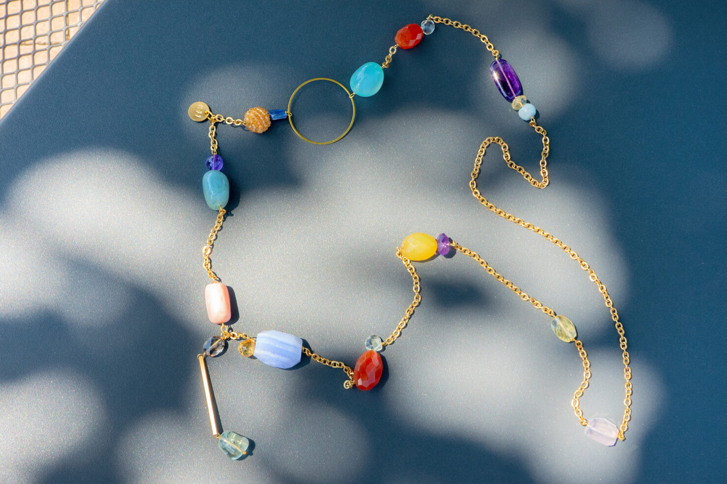 LONG NECKLACE GOLDEN BRASS AND SEMIPRECIOUS STONES 100/105 CM - M11SHOP