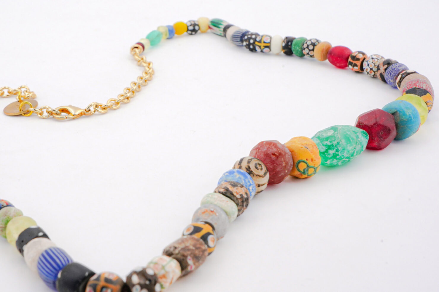NECKLACE ANCIENT AFRICAN GLASS PEARLS 1 - M11SHOP