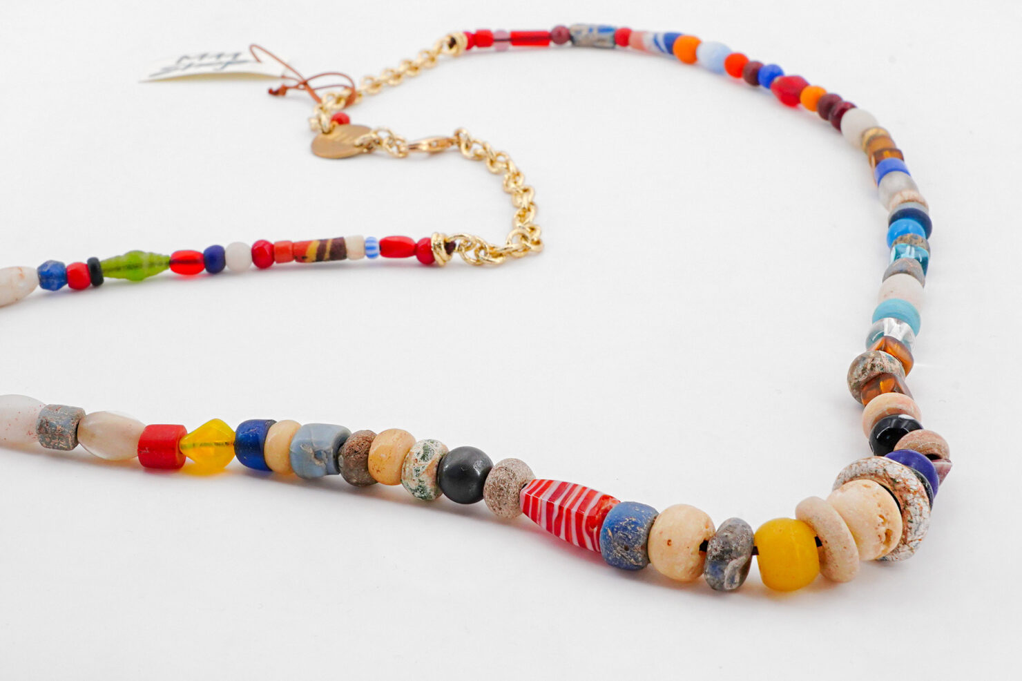 NECKLACE ANCIENT AFRICAN GLASS PEARLS 9 - M11SHOP
