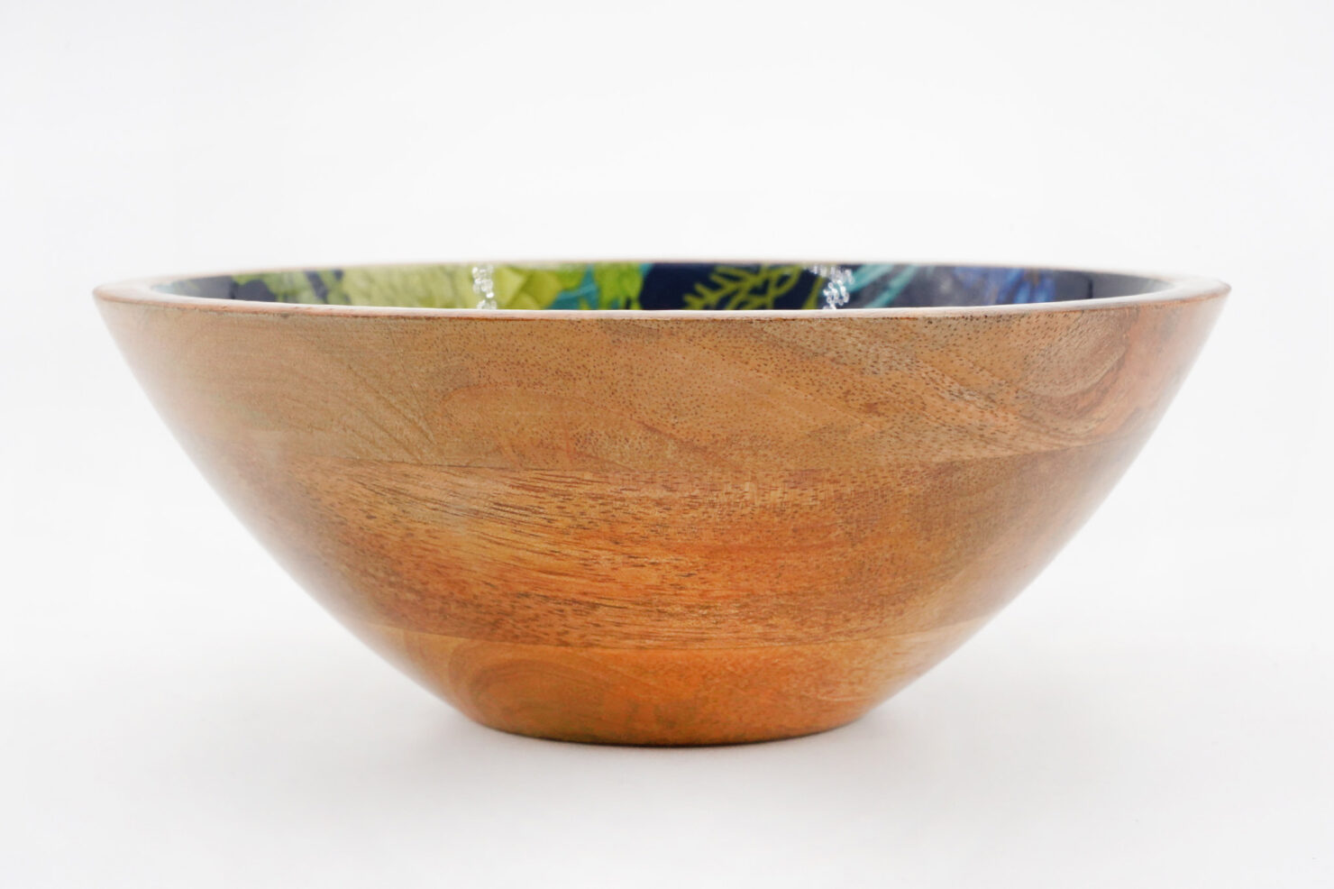 BOWL BLUE CHRISTMAS MANGO WOOD 18CM - BY ROOM