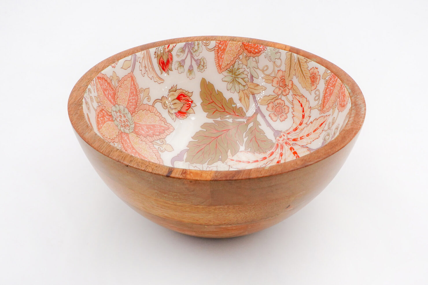 BOWL ORANGE FLOWER MANGO WOOD 25 CM - BY ROOM