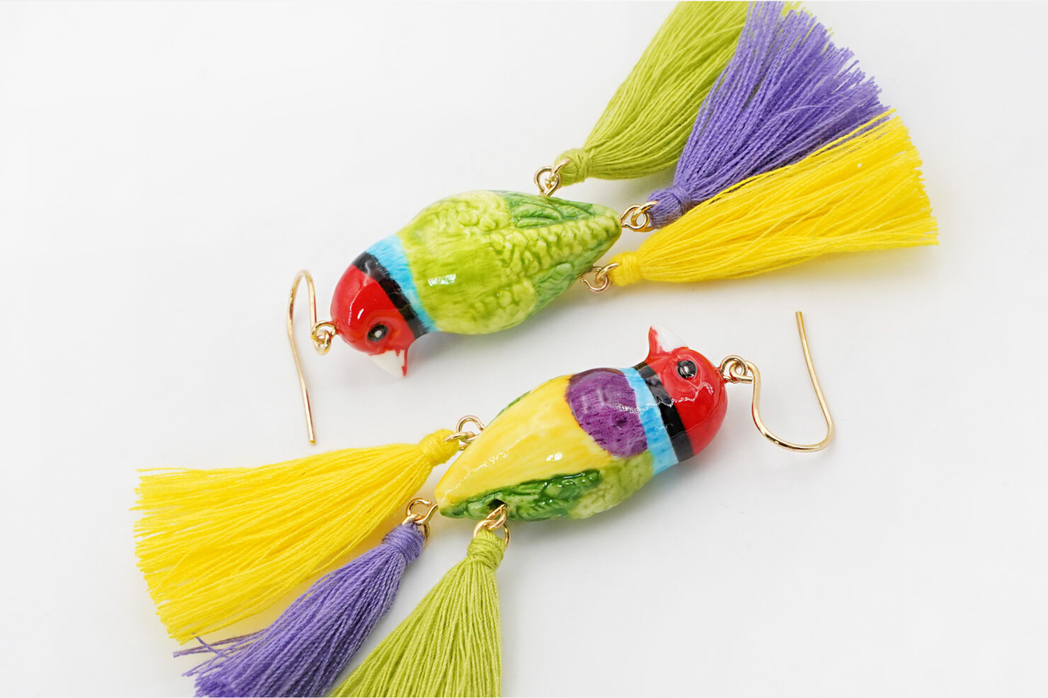 GOULDIAN FINCH BIRD WITH 3 POMPOMS EARRINGS - NACH