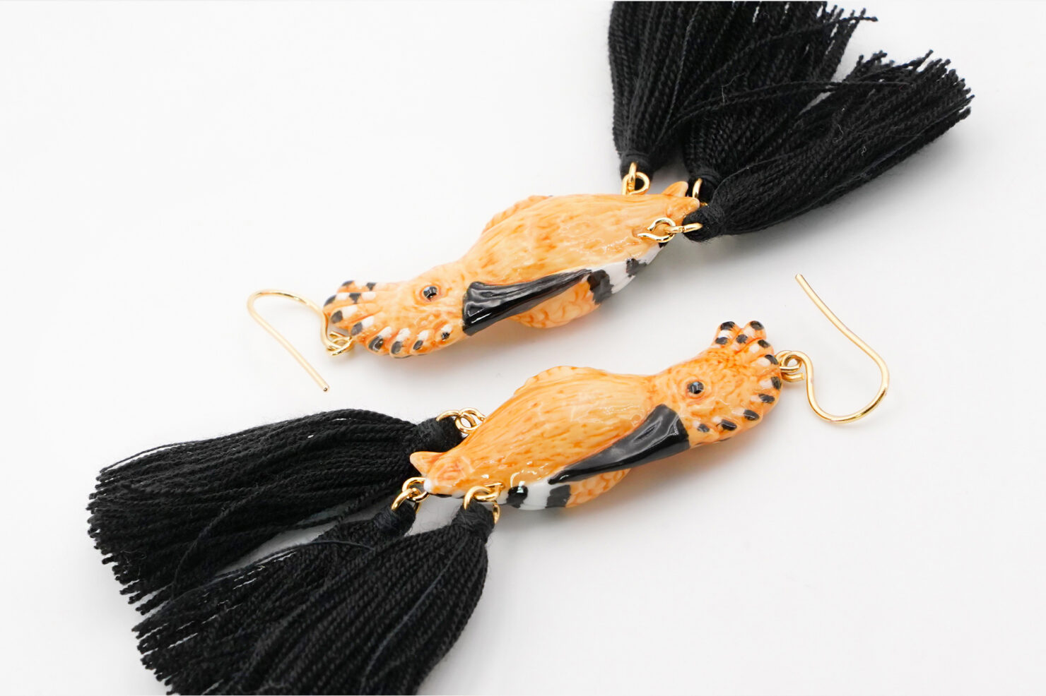 HUPPE BIRD WITH 3 POMPOMS EARRINGS - NACH