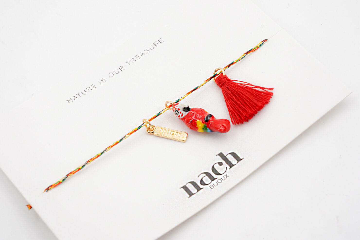 RED PARROT POMPOM MULTICOLOR CHARM'S - NACH