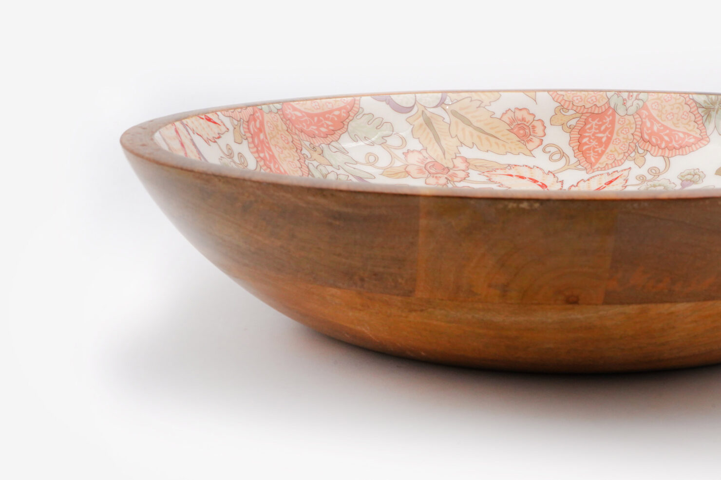 BOWL ORANGE FLOWER MANGO WOOD 38 CM - BY ROOM