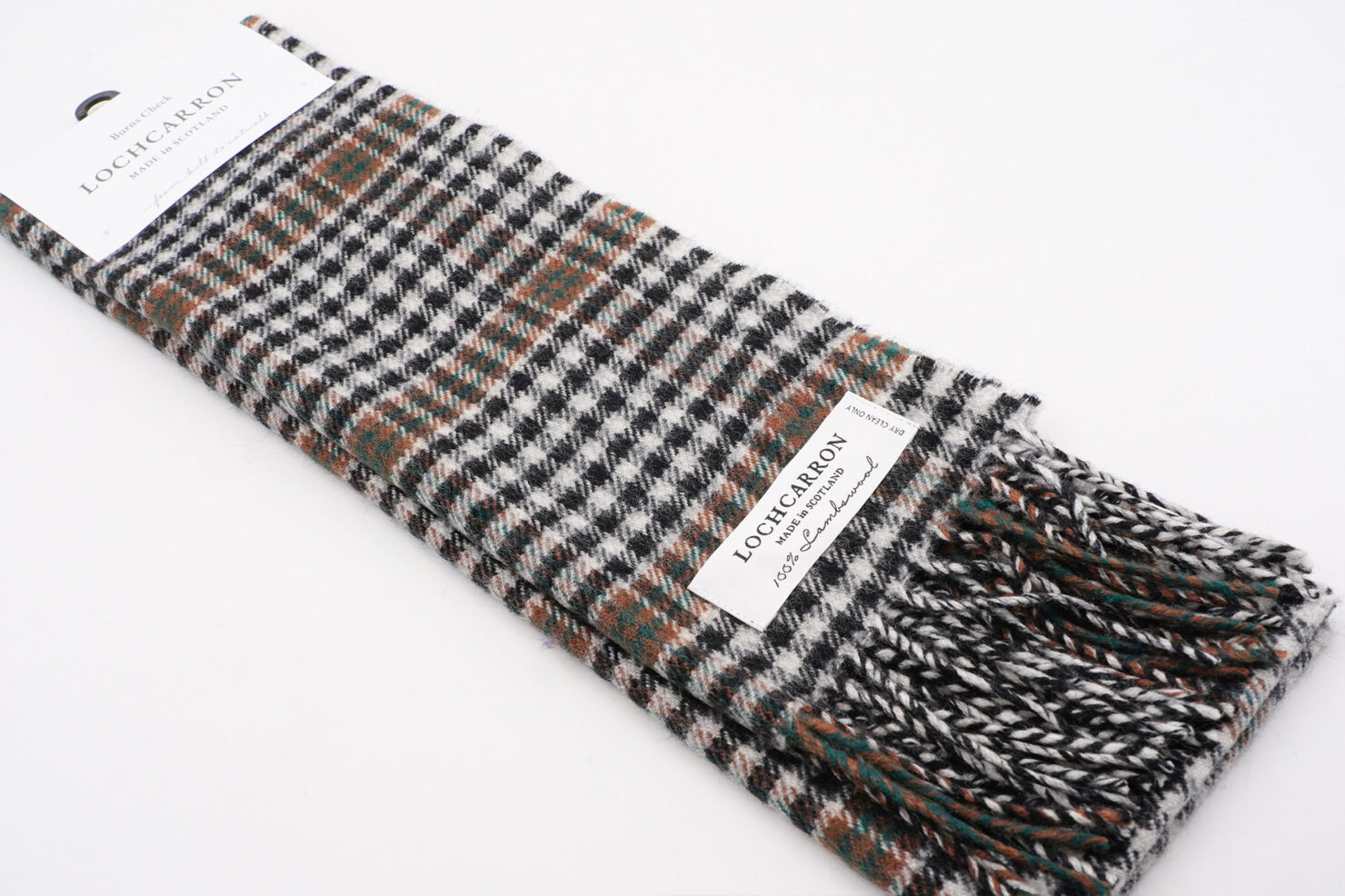 BRUSHWOOL LONG BURNS CHECK SCARF - LOCHCARRON OF SCOTLAND