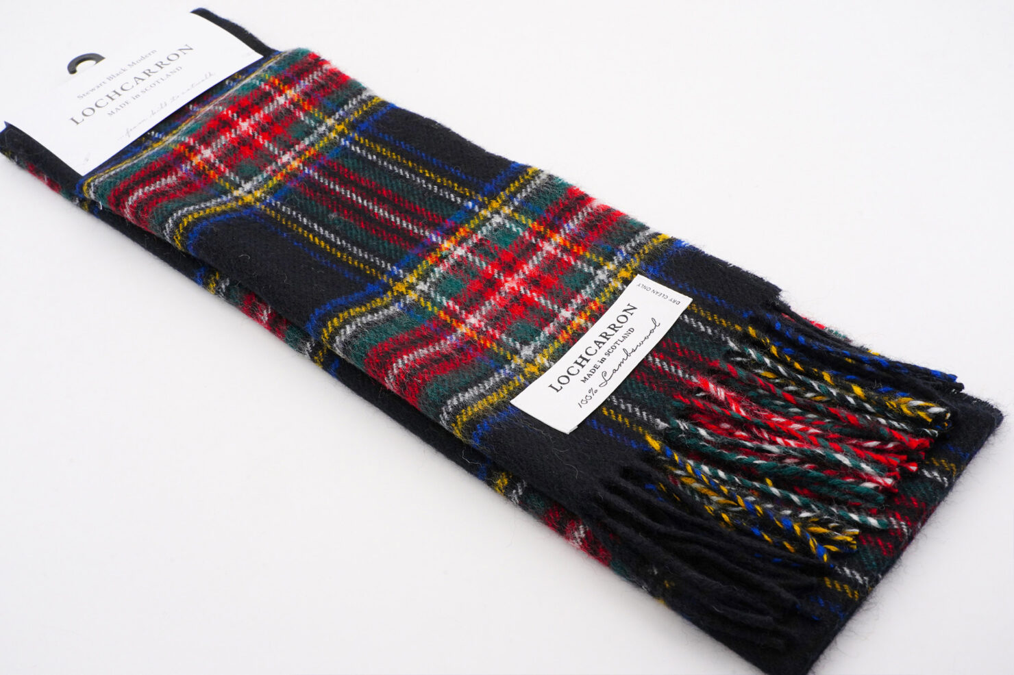 BRUSHWOOL LONG STEWART BLACK SCARF - LOCHCARRON OF SCOTLAND