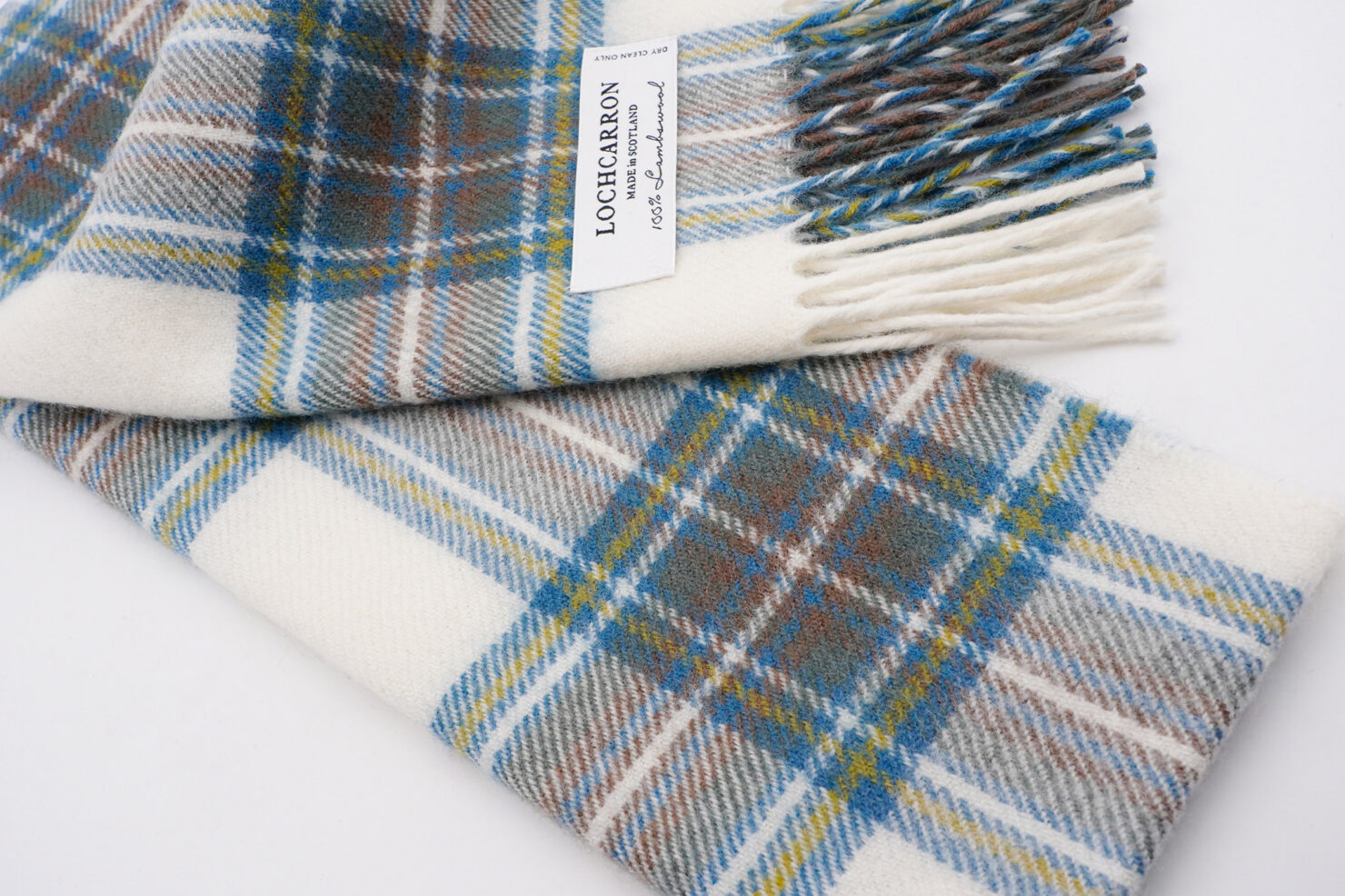 BRUSHWOOL LONG STEWART BLUE DRESS SCARF - LOCHCARRON OF SCOTLAND