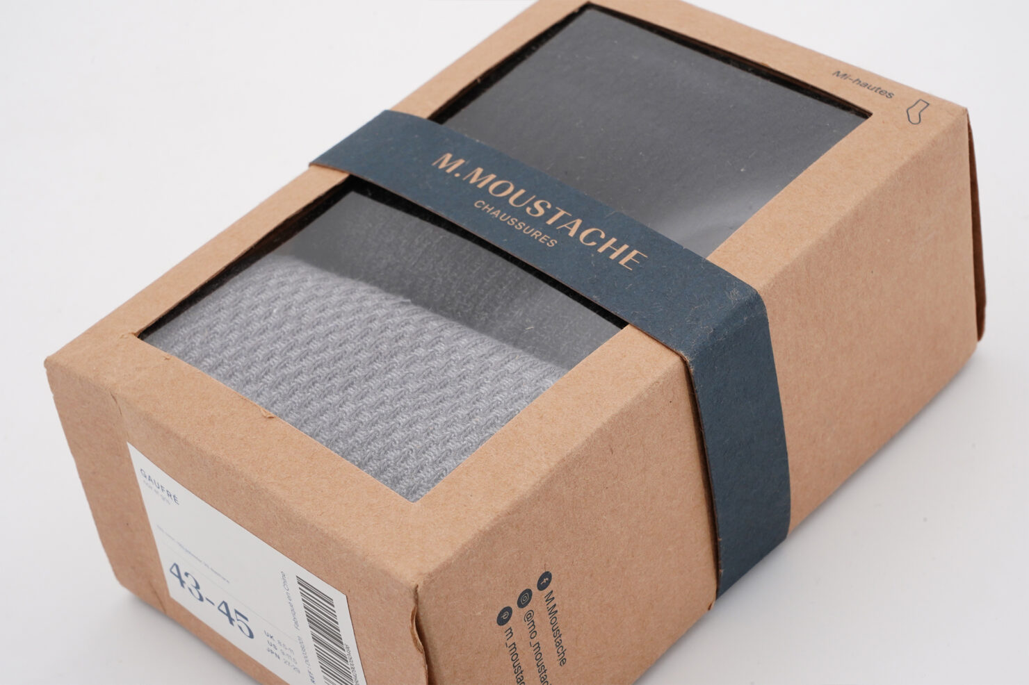 PACK OF 2 SOCKS - LE PETIT FRANCAISE, GREY AND BLUE PACK - M. MOUSTACHE